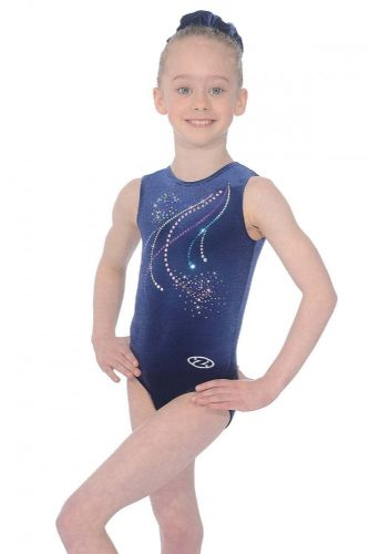 THE ZONE POM POM Leotard Z103 Navy Velour Hologram Sequins Dance Gymnastics Gym